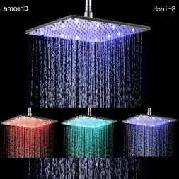 LED Shower Head 10 Inch Square Chrome Water Temperature 3 Co
