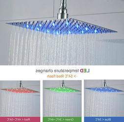 LED Shower Head Chrome 8 Inch Square Rainfall Sprayer Faucet