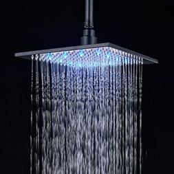 Rozin LED Light 10-inch Rainfall Shower Head Sqiare Overhead