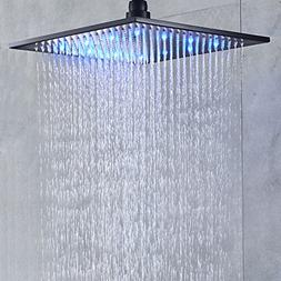 Senlesen LED Light 16-inch Rainfall Shower Head Bathroom Squ
