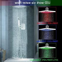 """Modern 8"""" LED Shower System Ceiling Mount Rain Shower Head S"""