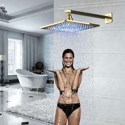 "16"" Polished Chrome LED Rainfall Shower Head Solid Brass Top"