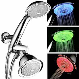 PowerSpa 7-Color 24-Setting LED Shower Head Combo, Chrome