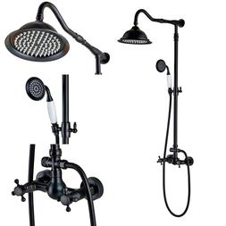 Rozin Bath Dual Knobs Shower Set Rain Showerhead w Hand Spra