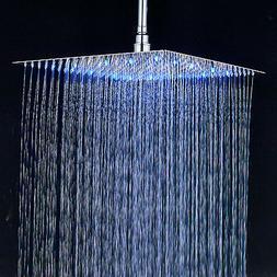 Bathroom Rainfall 12-inch Shower Head LED Light Overhead Spr