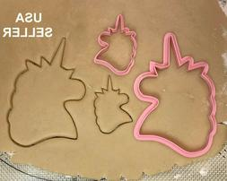 """Set of 2 UNICORN HEAD Frame Cookie Cutter 4"""" for BABY SHOWER"""