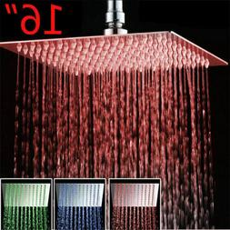 shower 16 inch led chrome square rain