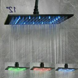 "LED Shower Head 16"" Oil Rubbed Bronze Square Rain Over-head"