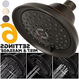 Sakaika 5-Inch 2.5 GPM Adjustable Multi-Function Shower Head