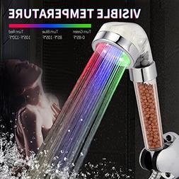 VEHHE Shower Head Spa 3 Color Rainfall Hand Held Fixed Showe