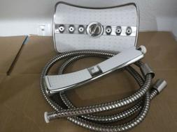 Shower Head Titanium Silver 3 Way 4 Setting 9 Inch Waterfall