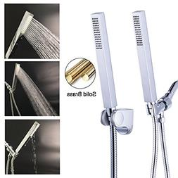 Hibbent Square Solid Brass HandHeld Shower Head - Single Fun