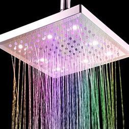 Bule Moo-Cow Square Temperature Sensitive Rainfall LED Showe