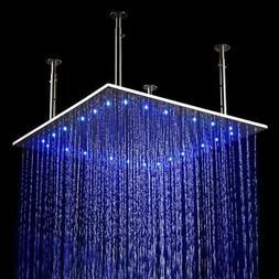 "JiaYouJia 24"" LED Stainless Steel Ceiling Mount Rain Shower"