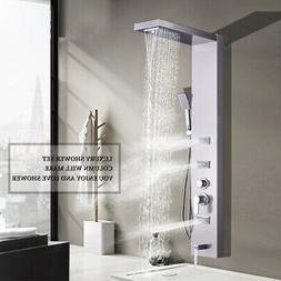 Brushed Nickel Shower Panel Tower System Rain&Waterfall Mass