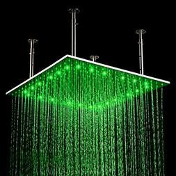 """KunMai 24"""" LED Stainless Steel Square Ceiling Rain Shower He"""