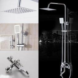 """US Bathroom Wall Mount 8"""" Square Rainfall Shower Head&Handhe"""