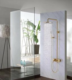 Wall Mount Bathroom Brass Round 10 Inch Brushed Gold Rainfal
